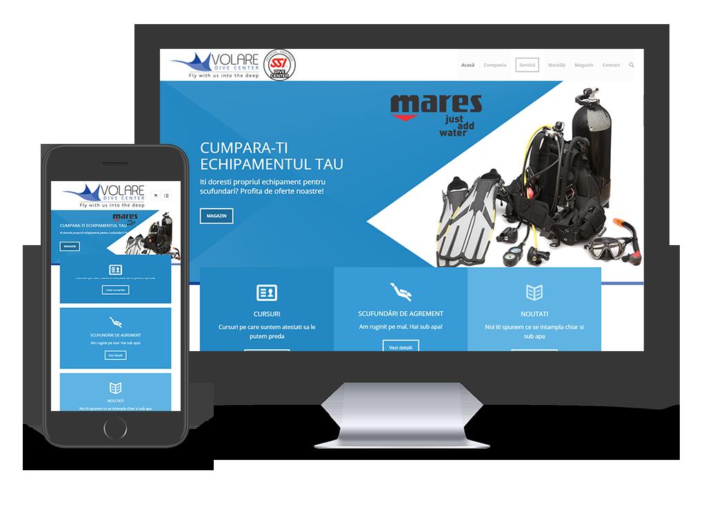 site prezentare mobile friendly pentru scoala de scafandri - Volare